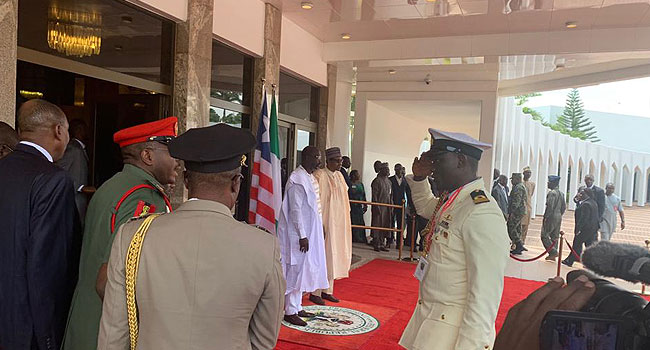 Umrah Banner: George Weah Visits Buhari At Presidential Villa (photo